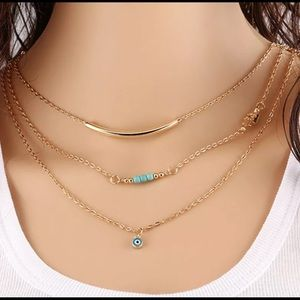 Multilayer Gold Plated Blue Eye Pendant Necklace
